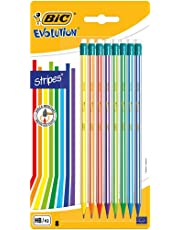 Bic Evolution Stripes Matita Mina HB, 8 Pezzi, con Gommino