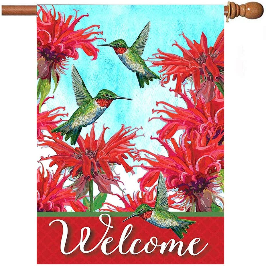 Hummingbird Bird Spring Garden Flag 28x40 inch Double Sided Decorative Hibiscus Flowers Daisy Welcome House Yard Flags for Spring Summer Garden Yard Outdoor Indoor Lawn Farmhouse Outside Decoration