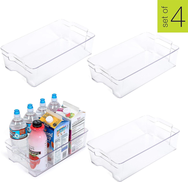 Smart Design Stackable Refrigerator Bin w/Handle - BPA Free Polyethylene - for Fridge, Freezer, Pantry Organization - Kitchen (8 x 15 Inch) [Clear] - Set of 4