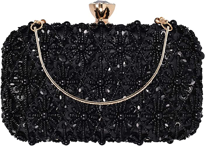 UBORSE Beaded Evening Clutch Handbag for Women Ladies Sequined Embroidered Wedding Purse Bridal Cocktail Party Prom Bag