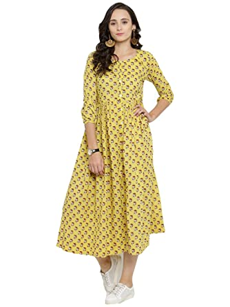 a9a8ad17d9 Varanga yellow printed Dress KFF-VAR218571 DR  Amazon.in  Clothing    Accessories