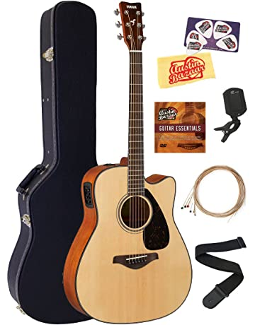 Yamaha FGX800C Solid Top Folk Acoustic-Electric Guitar - Natural Bundle with Hard Case,