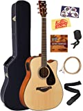 Yamaha FGX800C Solid Top Folk Acoustic-Electric Guitar - Natural Bundle with Hard Case, Tuner, Strings, Strap, Austin Bazaar Instructional DVD, Picks, and Austin Bazaar Polishing Cloth