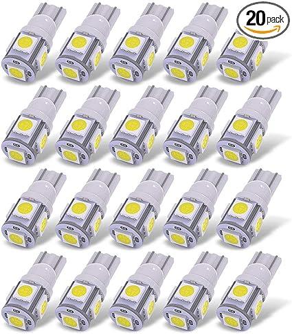 20x T10 5050 W5W 5 SMD 194 168 LED White Car Side Wedge Tail Light Lamp Bulb 12v