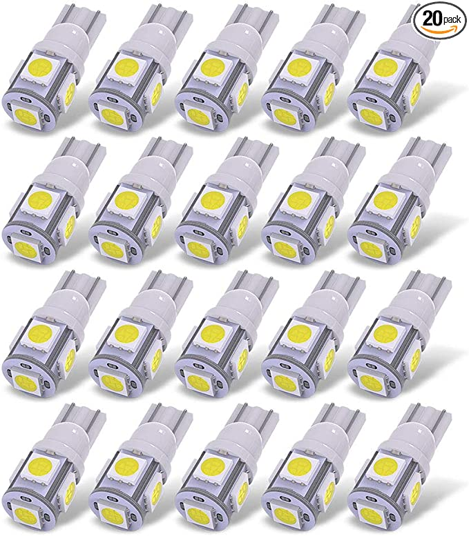 50x Ultra Blue T10 Wedge 5SMD 5050 LED Dome Map Interior Light Bulbs 168 192 194