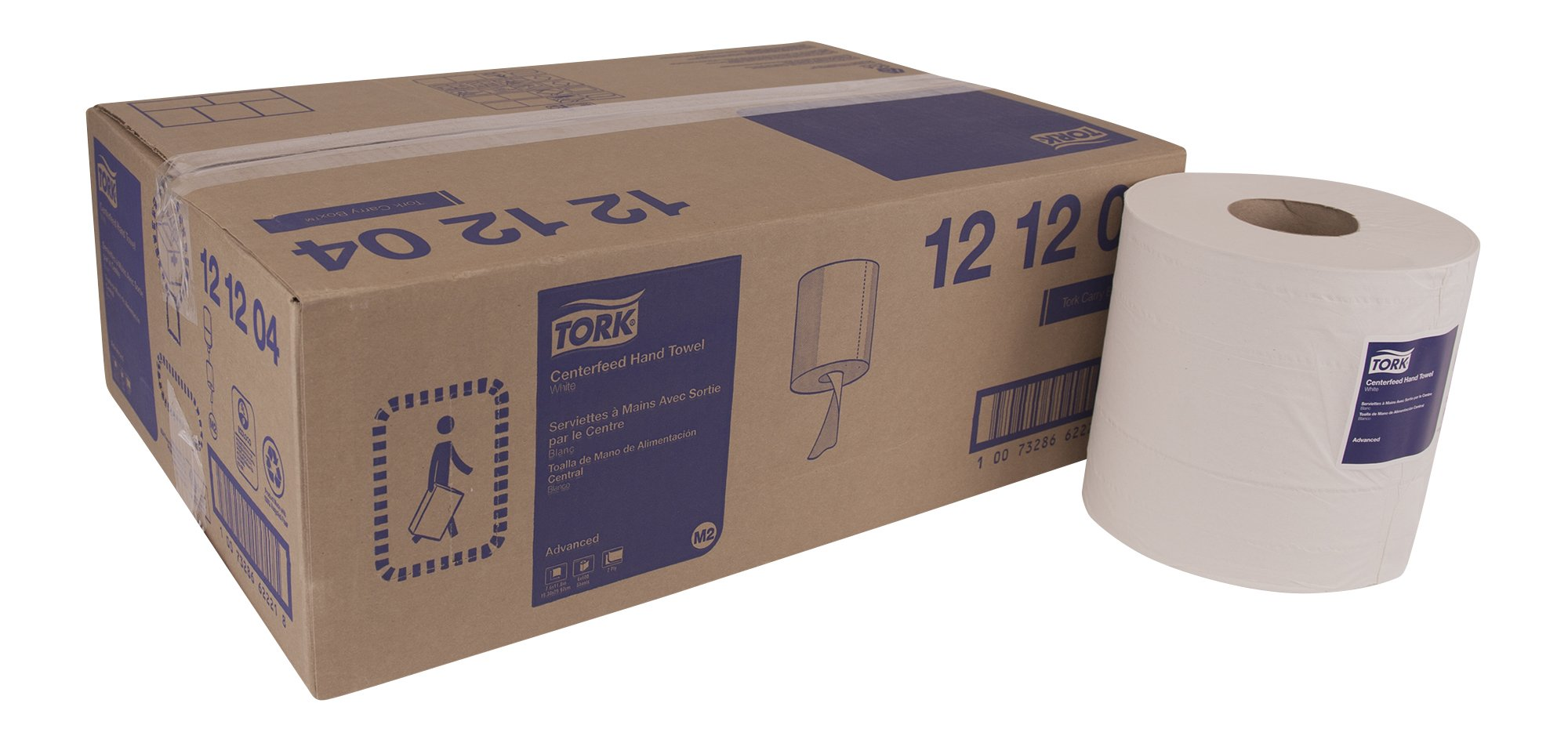 Tork Advanced 121204 Soft Centerfeed Hand Towel, 2-Ply, 7.6'' Width x 11.8'' Length, White (Case of 6 Rolls, 600 per Roll, 3,600 Towels) for use with Tork 559020A Or 559028A