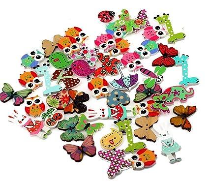 50 botones de madera Dylandy con dibujos animados mezclados, 2 agujeros para coser tejer,