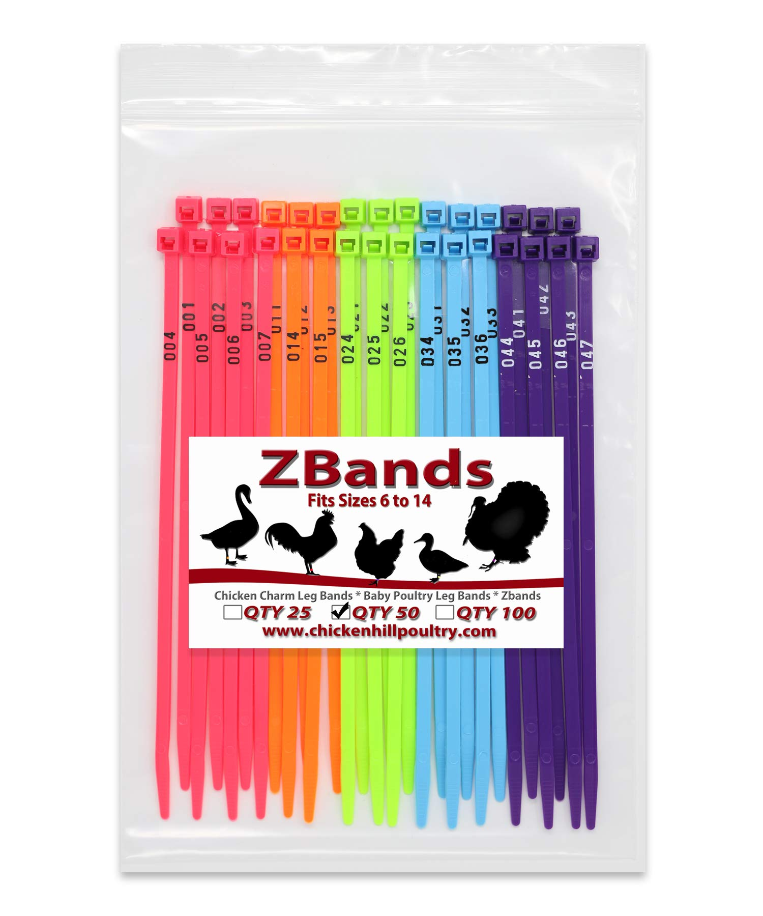Chicken Hill 50 ZBand Numbered Poultry Leg Bands Fluorescent ~ Fits Sizes 6 to 14 by Chicken Hill