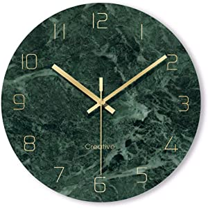 "FlorLife Contemporary Wall Clocks 12"" Silent Non-Ticking Quality Quartz Battery Operated Glass Wall Clock for Kitchen/Living Room/Bedroom/Office Easy to Read (Emerald)"