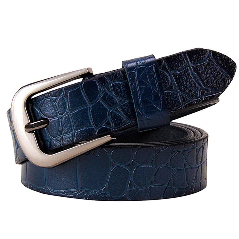 Mainstream Fashion Women jeans Cow belt cowhide Pin buckle strap female,115cm,Blue