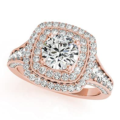 476267439 Ladies Square Double Halo Diamond Engagement Ring with Side Stone Accents  in 14k Rose Gold 2.20ct | Amazon.com