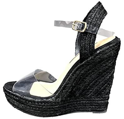 4f538890fc54 Liliana Derby-78 Espadrille Mary Jane Transparent Clear Straps Platform  Wedge Sandal Black 8.5