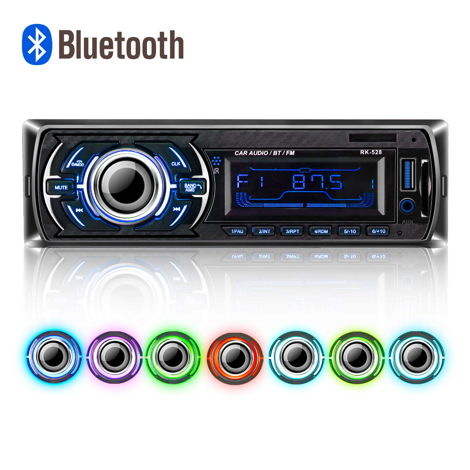 Radio de Coche Bluetooth,POMILE Single DIN Radio de Coche Auto Control MP3 Player Manos Libres y Micró fono Integrado, Remoto Inalá mbrico POMILE Single DIN Radio de Coche Auto Control MP3 Player Manos Libres y Micrófono Integrado