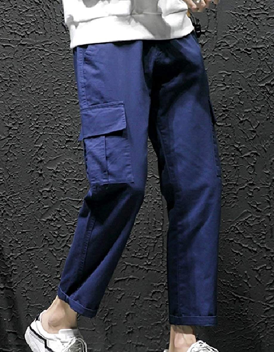 Tootless-Men Slim Straight-Fit Casual Multi-Pockets Combat Work Pants
