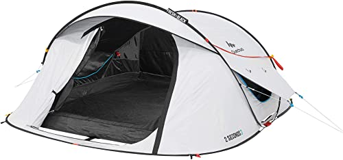 Quechua Waterproof Pop Up Camping Tent 2 Seconds Fresh & Black Easy Set Up and Fold - Extra Dark Interior