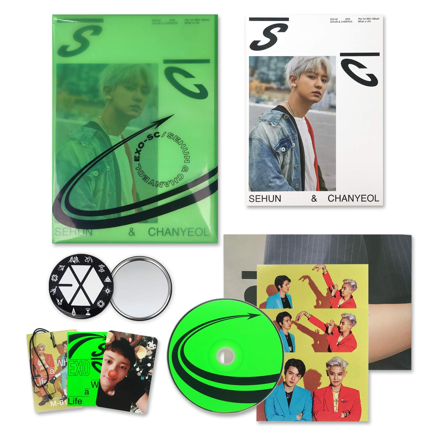 Exo Sc Exo Sc 1st Mini Album What A Life Sc2019 G Ver Cd Booklet Folded Poster On Pack Photocard Name Tag Sticker Postcard Official Poster Free Gift Music