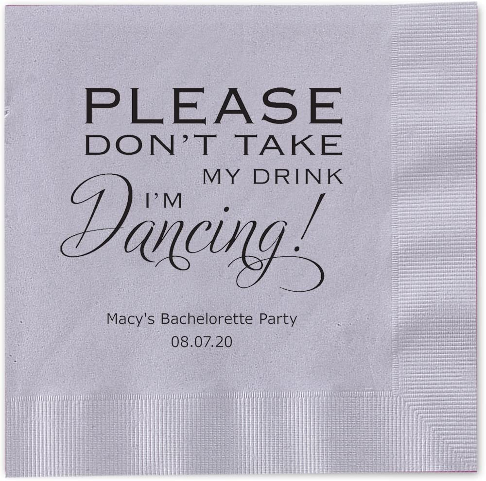 Canopy Street Please I'm Dancing Personalized Cocktail Beverage Napkins 100 Silver Gray Paper 4 3/4