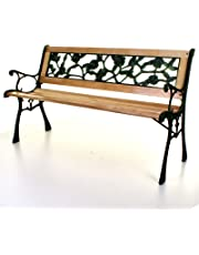 Marko Outdoor Wooden 3 Seater Cross Rose Garden Bench Park Seat with Cast Iron Legs