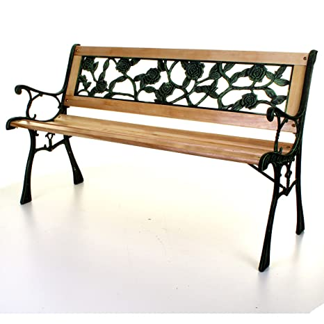Terrific Marko Outdoor Wooden 3 Seater Cross Rose Garden Bench Park Seat With Cast Iron Legs Pabps2019 Chair Design Images Pabps2019Com