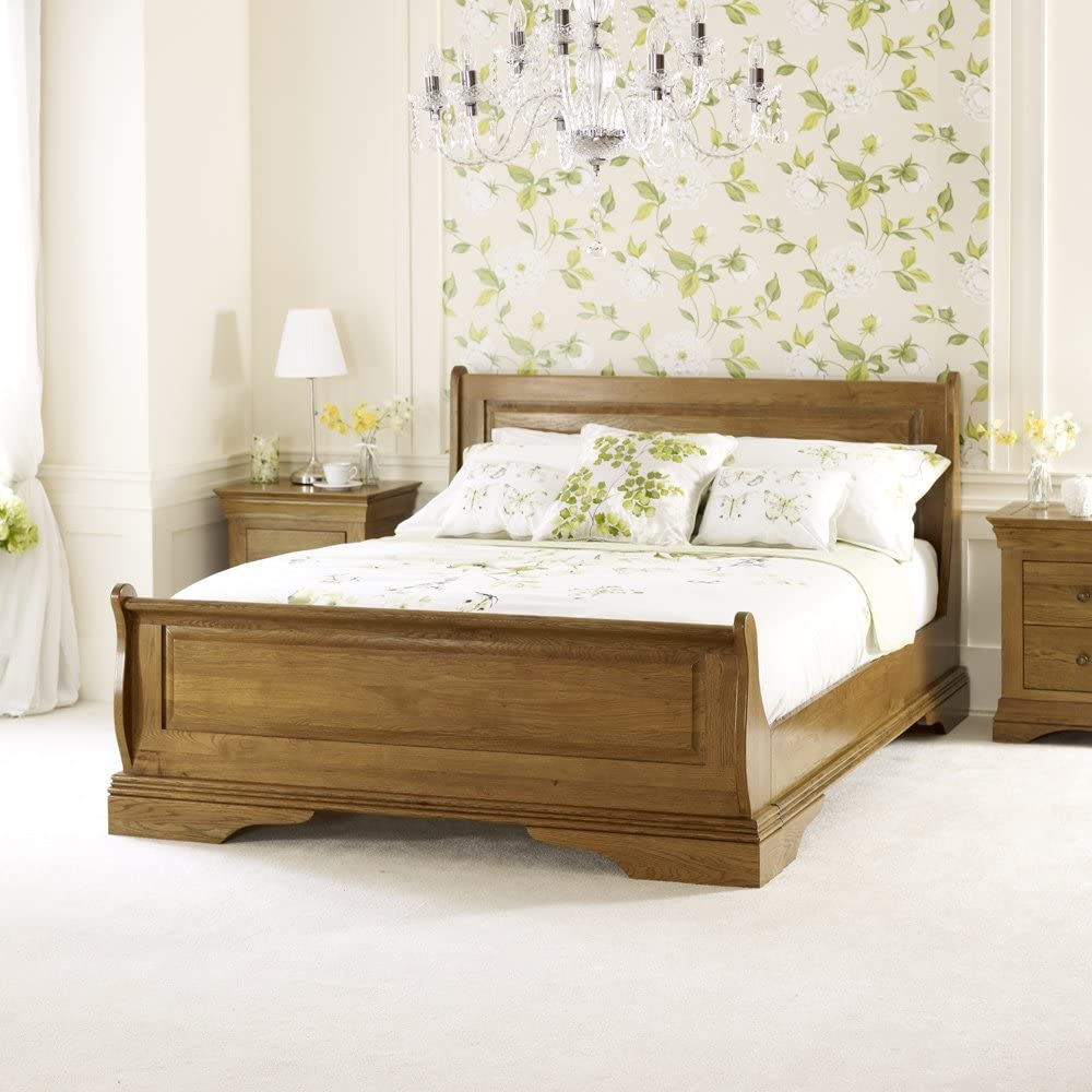 - The Furniture Market French Louis Solid Oak 4ft 6in Double Sleigh