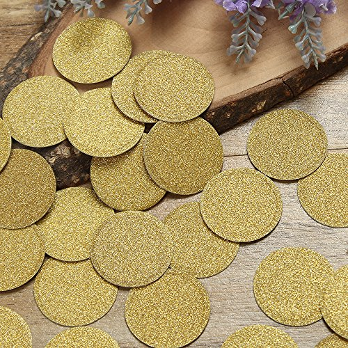 Shiny Large Dots (ZOOYOO Glitter Paper Confetti Circles, Wedding Party Decor and Table Decor,Glitter Paper Confetti,DIY Kits,200pcs,pack of 2,Circles Dots (gold))