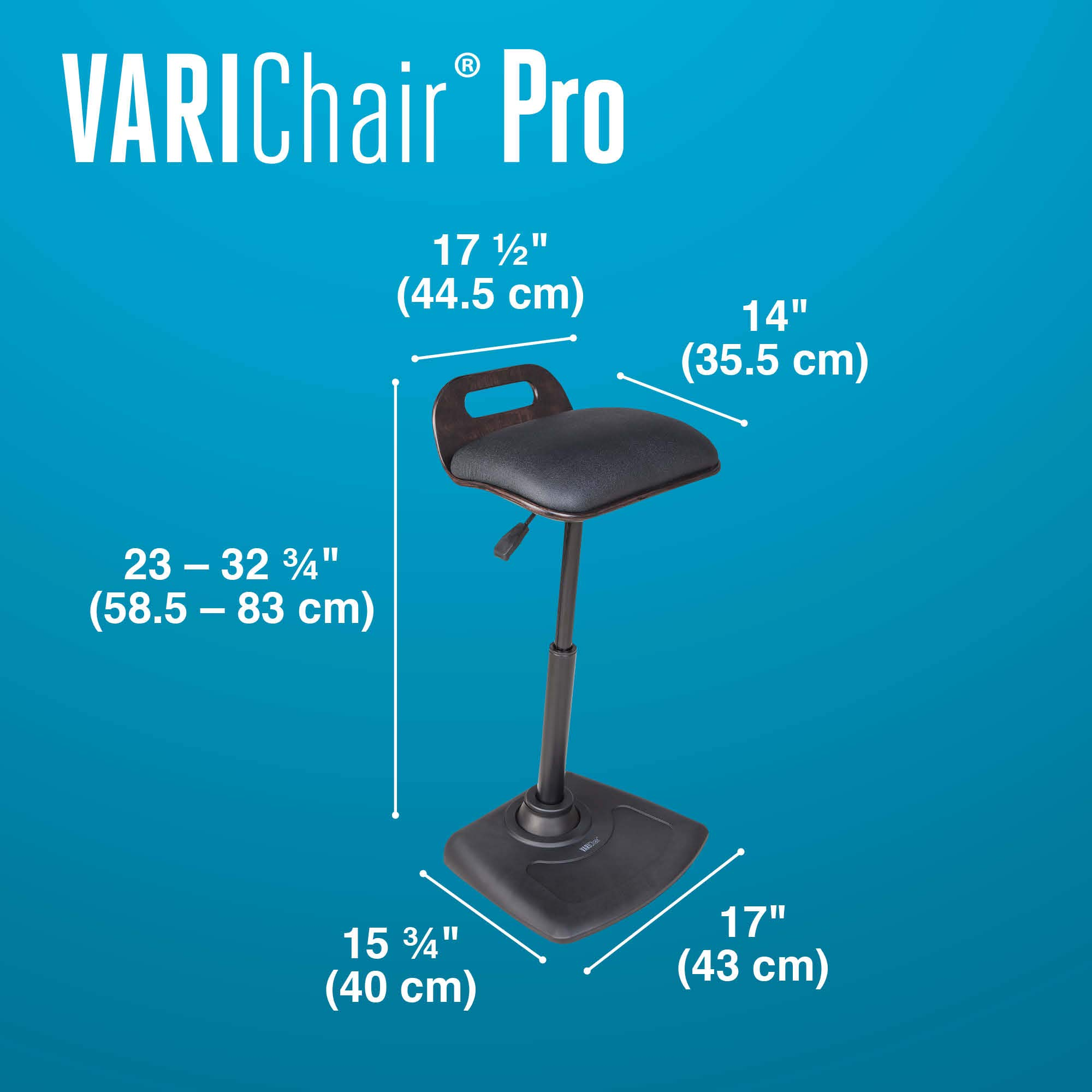 VARIDESK - Adjustable Standing Desk Chair - VARIChair Pro - Black