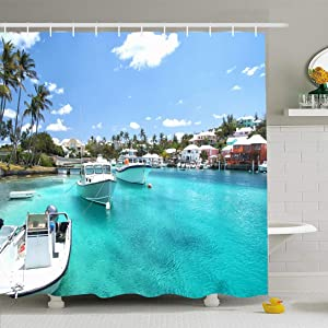 Ahawoso Shower Curtain Set with Hooks 72x78 Sky Bermuda in Environment Seaside Sailing Yacht Boats Resort On Blue Water Transportation Nature Waterproof Polyester Fabric Bath Decor for Bathroom