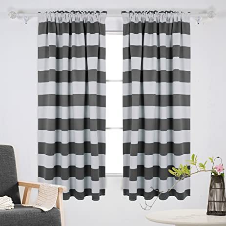 Wonderful Deconovo Gray Striped Blackout Window Curtains Thermal Insulated Grey And  Greyish White Striped Curtains For Bedroom