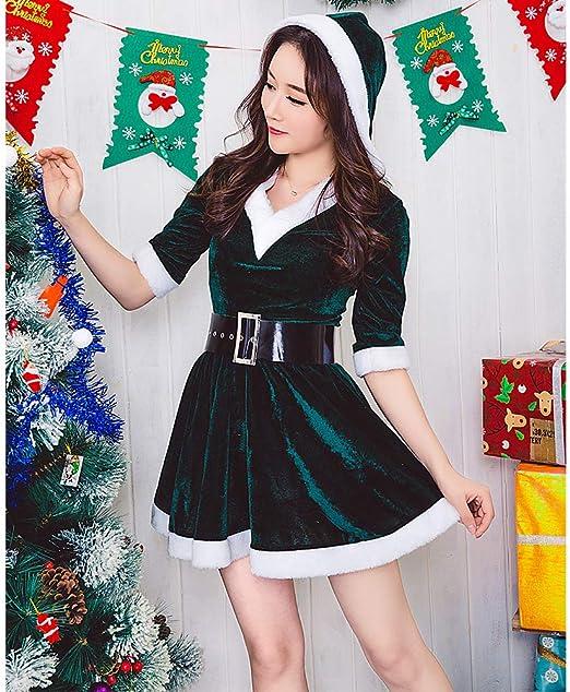 Surenhap Disfraz de Navidad Mujer Mrs Claus Vestido Encapuchado ...