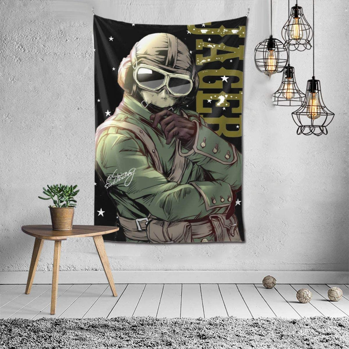 Snanna Jager Rainbow Six Siege Memes Tapestry Wall Hanging, Tapestries Wall Blanket Wall Art for Living Room Bedroom Home Decor 90 X 60 Inch