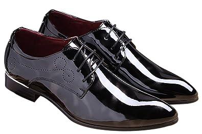 bcbbea5ef8c SANTIMON Black Dress Shoes for Men Pointed Toe Floral Patent Leather Lace  Up Oxford Black 5