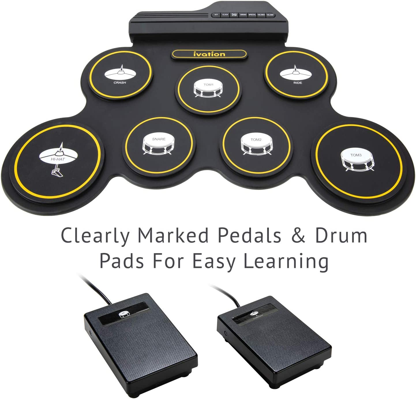 Ivation Portable Electronic Drum Pad - Digital Roll-Up Touch Sensitive Drum...