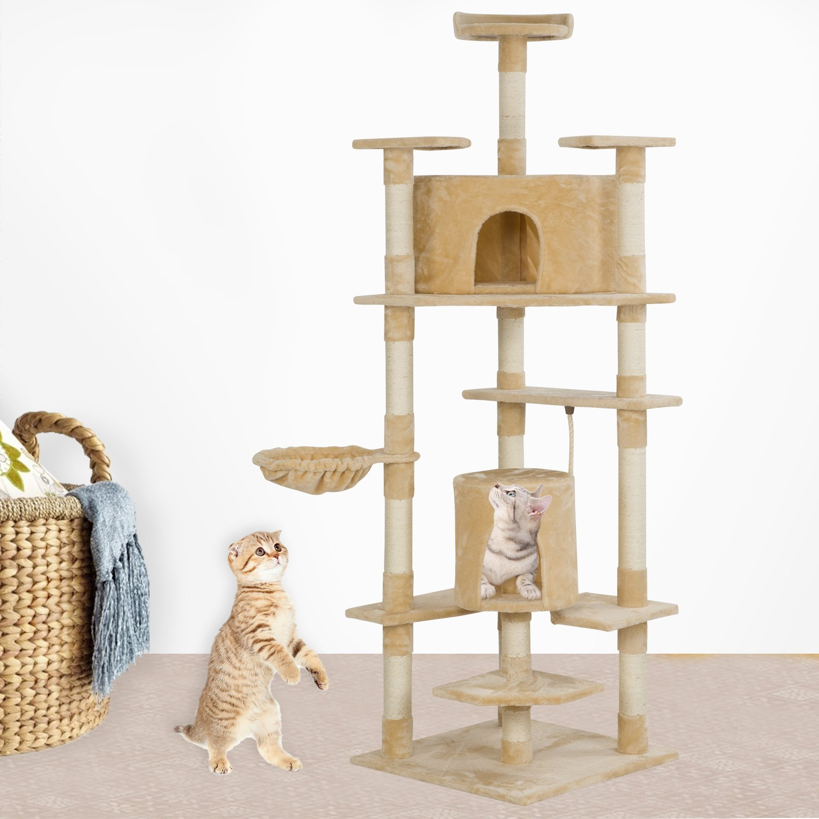 SUNCOO 7 Level Cat Activity Tree and Towers Condo Furniture Scratching Kitty Pet Play House with Hammock and Hanging Toy Beige 78 inches High