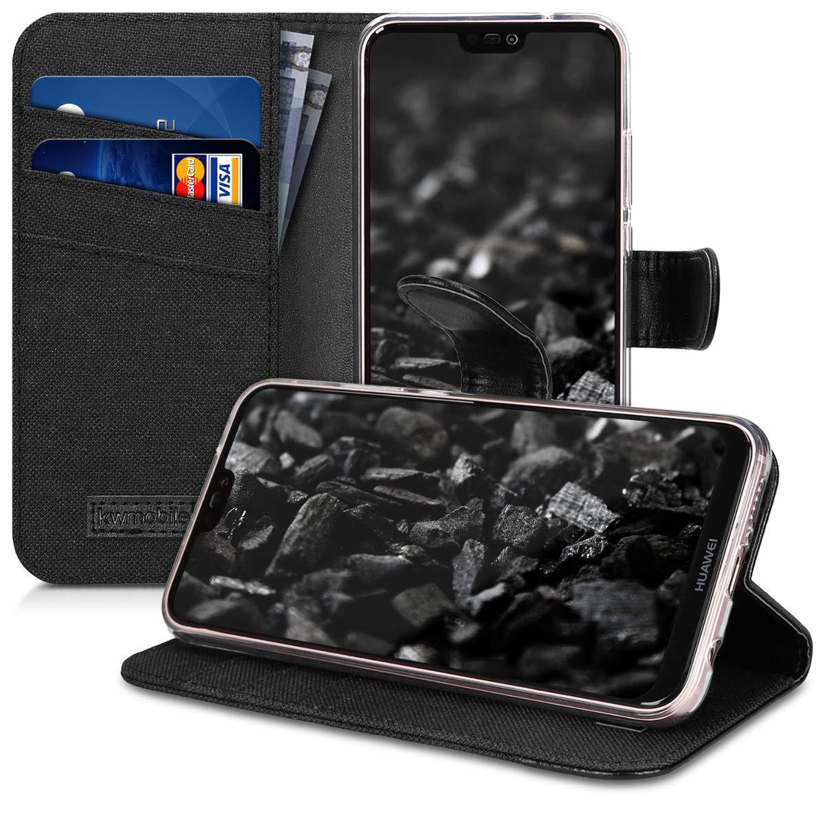 kwmobile H/ülle f/ür Huawei P20 Lite Handycover Klapph/ülle mit Kartenfach und St/änder Pusteblume Love Design Schwarz Wei/ß Wallet Case Handy Schutzh/ülle Kunstleder