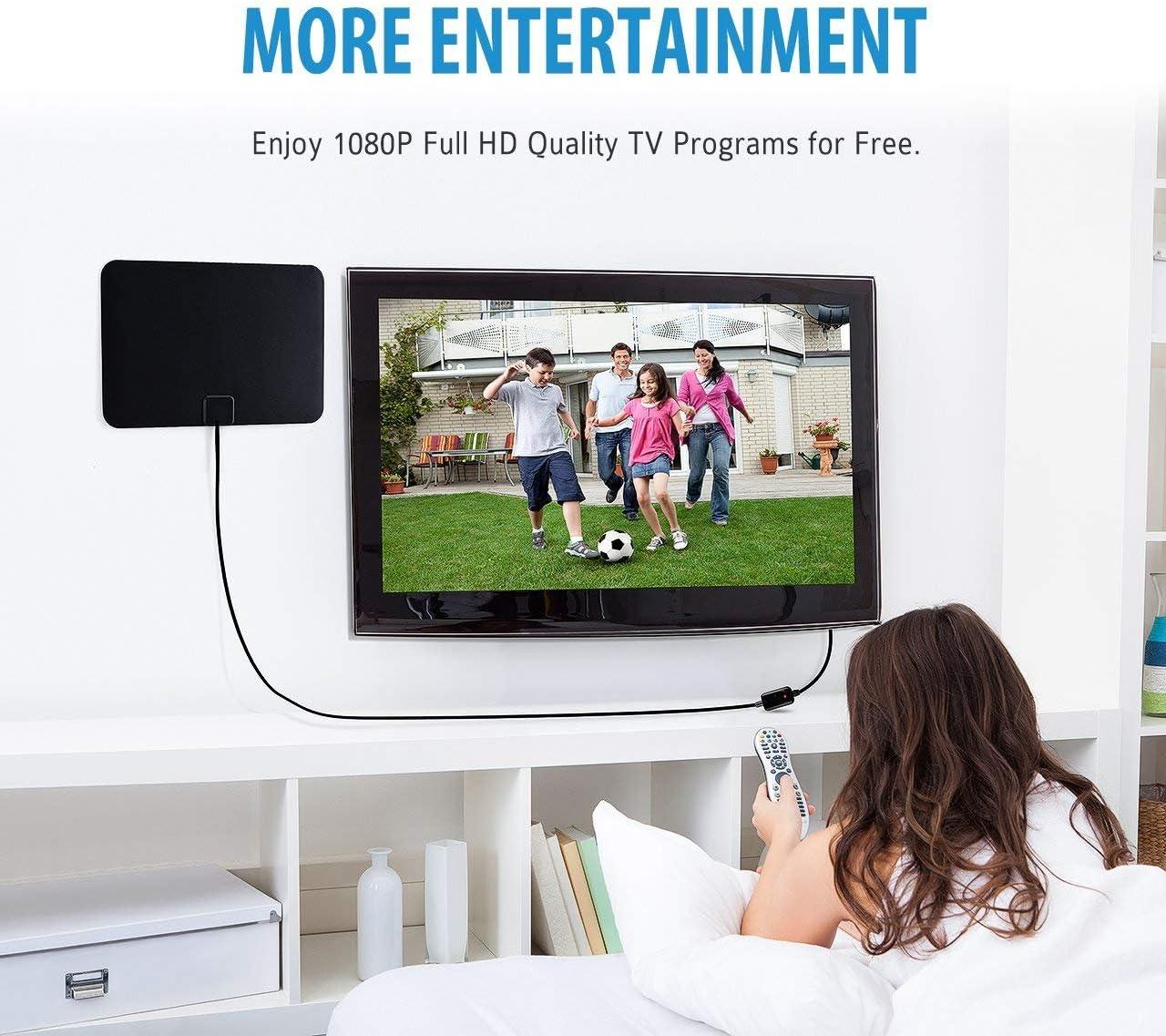 Antena Interior de TV, Antena TDT HDTV Portatil Amplificador VicTsing, Obtenga canales TV gratis, Mayor Rango de Recepción 40KM, Fácil de usar y instalar, 3M Cables de Alto Rendimiento-Negro: Amazon.es: Electrónica
