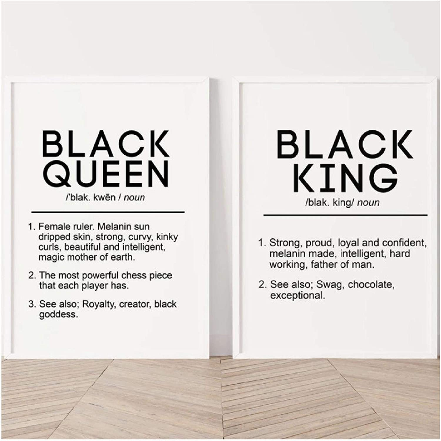 Vektenxi Decoration Canvas Painting Black King and Queen Definition Quote Posters Prints Bedroom Melanin Wall Art Black Beauty Home Decor -40x50x2Pcscm No Frame
