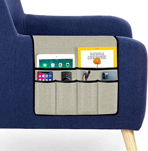 """Guken Sofa Armrest Organizer Couch Caddy Over Arm Chair Organizer for Recliner Storage Pouch with 6 Handy Pockets for TV Remote Control, Magazine, Phones, Books, Gadgets(Ivory White, 19""""X35"""")"""