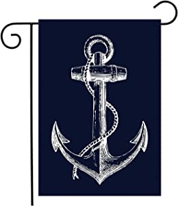 TweetyBed Nautical Anchor Garden Flag Double-Sided Holiday Decorative Banner,100% Polyester