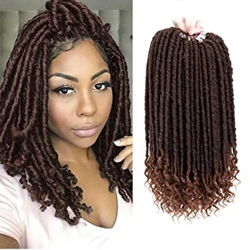 Zhen Show Crochet Goddess Locs Braids Straight Hair Curly Ends Synthetic Faux Locs Crochet Braiding Hair Extensions African Hairstyles Bohemian Havana