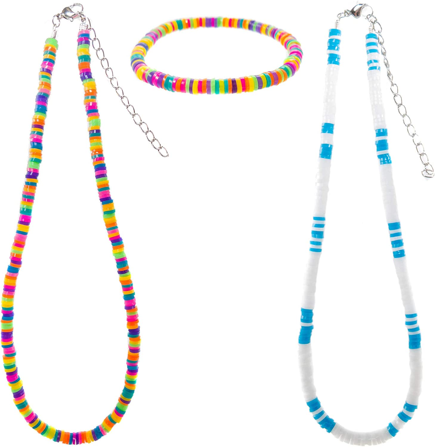Surfer Jewelry Beach Necklaces and Bracelet Set Colored Puka Chip Disc Beaded Necklaces and Stretch Bracelet Faux Puka Shell Necklaces and Bracelet Set FROG SAC Unisex Summer Jewelry Set
