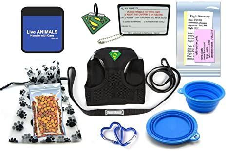 7cca8704a527 TSA Fast Pass In Cabin Pet Airline Travel Accessory Kit BLUE (Small Harness)