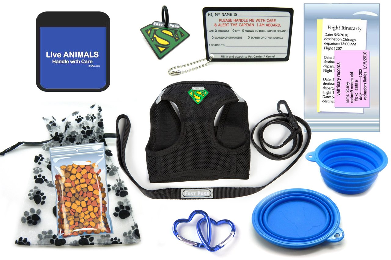 TSA Fast Pass In Cabin Pet Airline Travel Accessory Kit BLUE (Medium Harness)