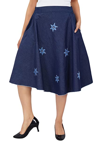 60c3717c1c7d0 Bimba Falda De Mezclilla De Diseño Para Mujeres Faldas De Cintura Elástica  De Espalda Una Línea Con Parches Estrellas Apliques  Amazon.es  Ropa y  accesorios