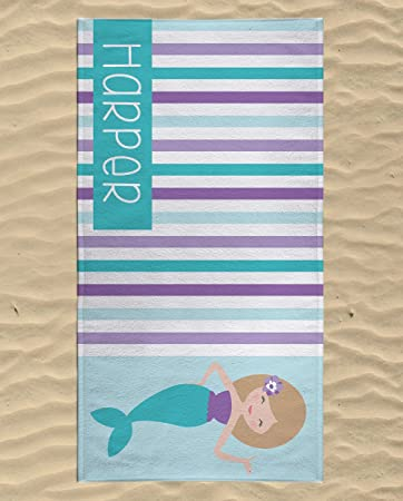 beach towels on the beach. Personalized Mermaid Beach Towel For Kids, Best Girls, Kids Swimming Towels On The