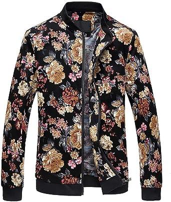 Mens Floral Printing Casual Coat Bomber Coat Stand Collar Zipper Baseball Jacket