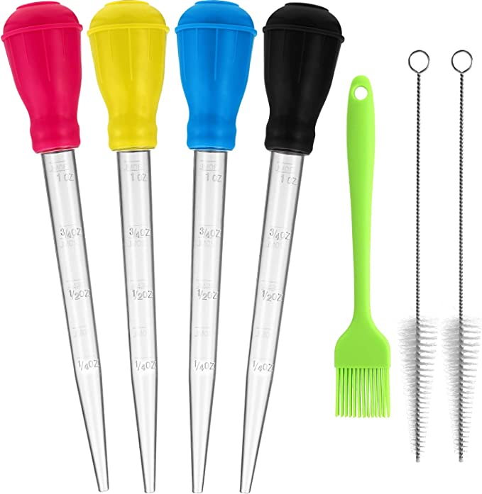 Turkey Lifter and Bonus Baster Brush Best Silicone Lifter for Cooking Meat