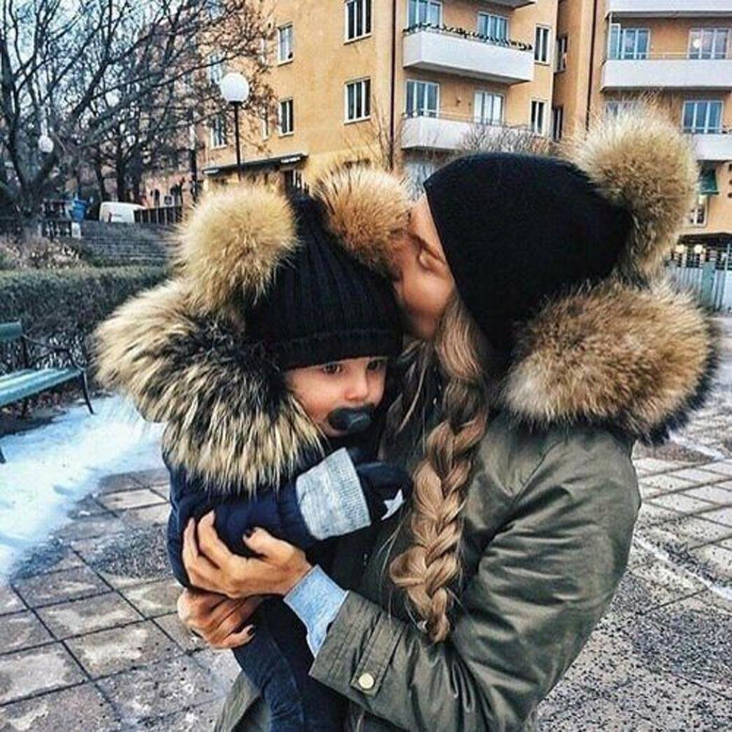 LNGRY 2PCS Mom Mother Baby Knit Hat Kids Girls Boys Winter Warm Beanie Cap