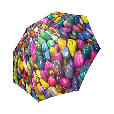 Custom Beautiful Colorful Stone Compact Travel Windproof Rainproof Foldable Umbrella