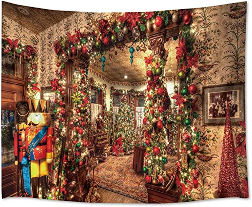 HVEST Christmas Tapestry Xmas Balls and Pine Tree in Vintage House Wall Hanging Xmas Ornaments Tapestries for Bedroom Living Room Dorm Wall Decor,92.5Wx70.9H inches