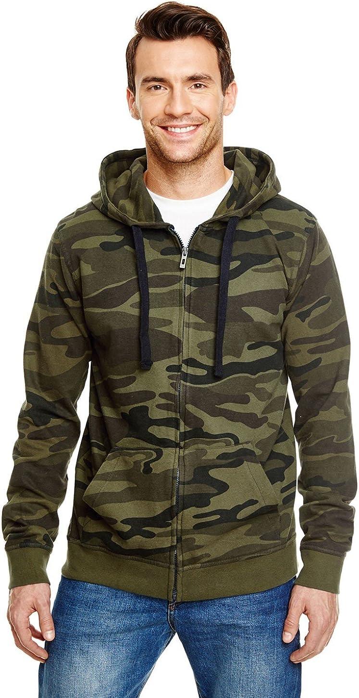 Burnside B8615 - Camo Full-Zip Hooded Sweatshirt: Clothing